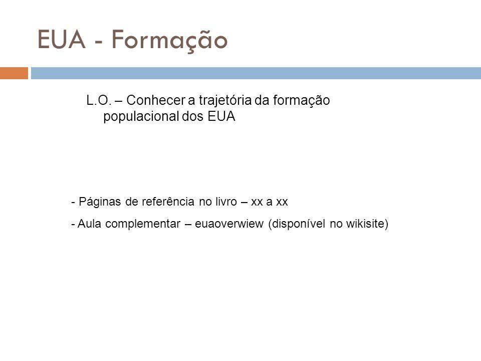 EUA - Formação L.O. – Conhecer a trajetória da formação populacional dos EUA - Páginas de referência no livro – xx a xx - Aula complementar – euaoverw
