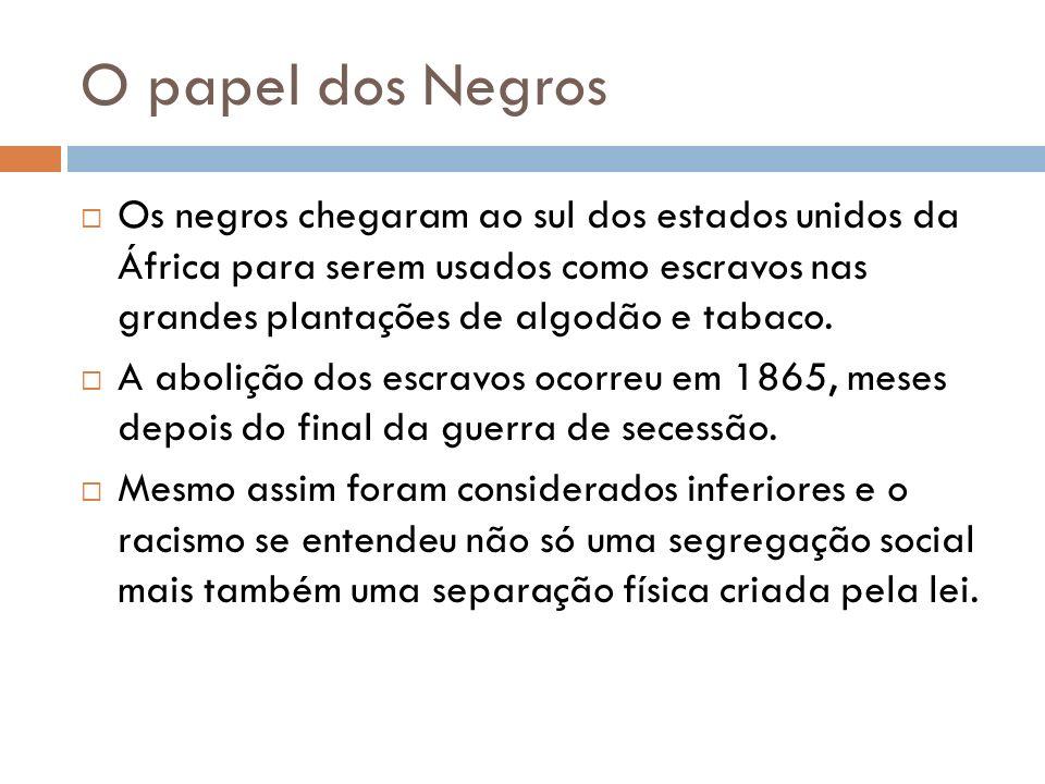 O papel dos Negros Os negros chegaram ao sul dos estados unidos da África para serem usados como escravos nas grandes plantações de algodão e tabaco.