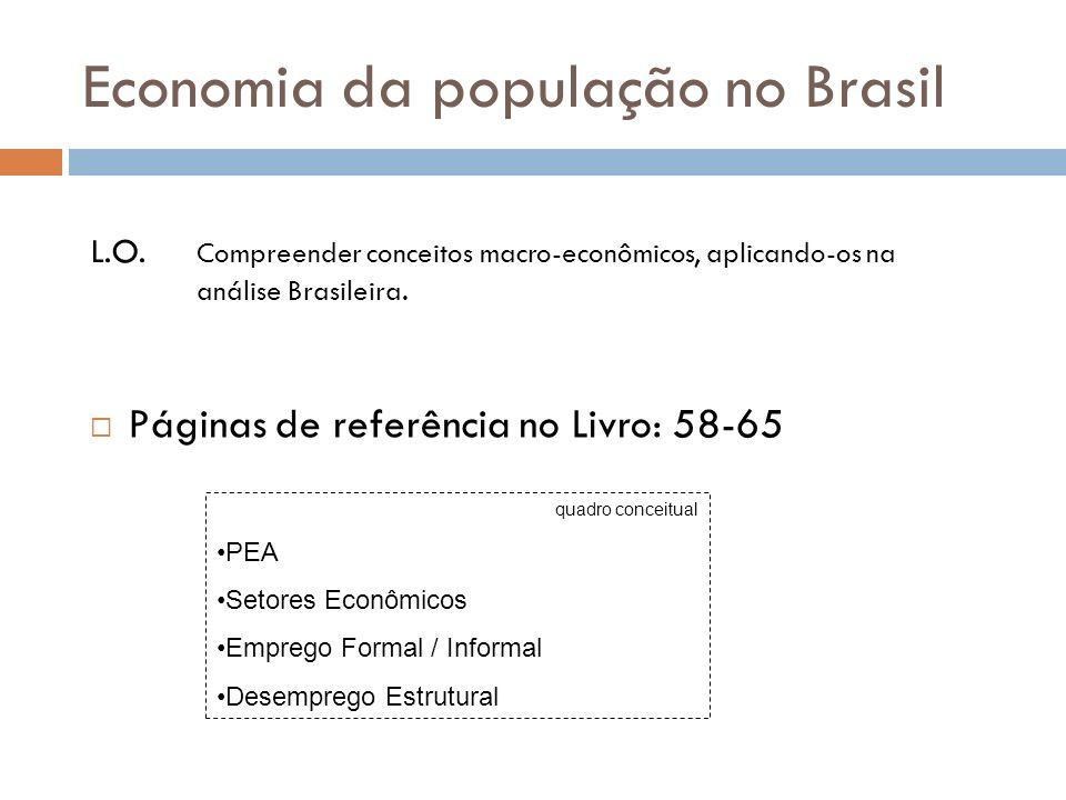 Economia da população no Brasil Páginas de referência no Livro: 58-65 L.O. Compreender conceitos macro-econômicos, aplicando-os na análise Brasileira.