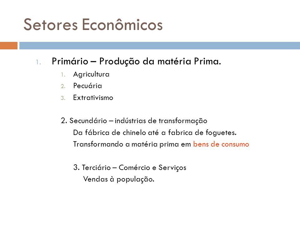 Setores Econômicos 1. Primário – Produção da matéria Prima. 1. Agricultura 2. Pecuária 3. Extrativismo 2. Secundário – indústrias de transformação Da