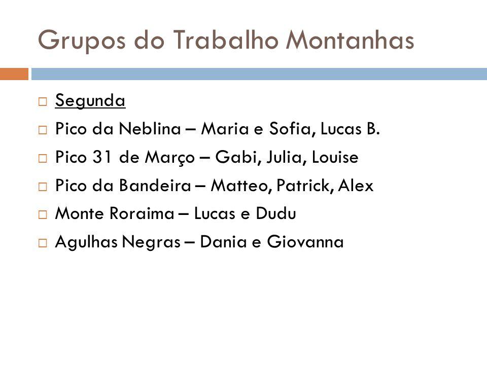 Grupos do Trabalho Montanhas Segunda Pico da Neblina – Maria e Sofia, Lucas B. Pico 31 de Março – Gabi, Julia, Louise Pico da Bandeira – Matteo, Patri