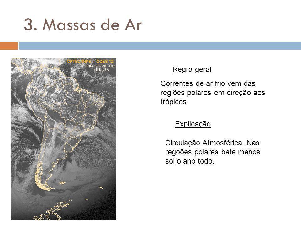 3. Massas de Ar Regra geral Explicação Correntes de ar frio vem das regiões polares em direção aos trópicos. Circulação Atmosférica. Nas regoões polar
