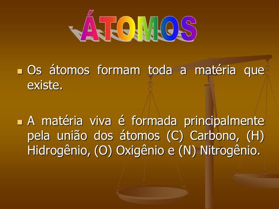 Os átomos formam toda a matéria que existe. Os átomos formam toda a matéria que existe. A matéria viva é formada principalmente pela união dos átomos
