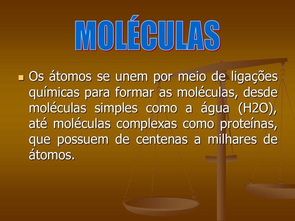 Os átomos se unem por meio de ligações químicas para formar as moléculas, desde moléculas simples como a água (H2O), até moléculas complexas como prot
