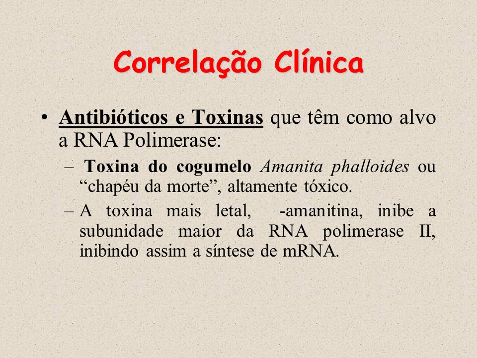 Correlação Clínica Antibióticos e Toxinas que têm como alvo a RNA Polimerase: – Toxina do cogumelo Amanita phalloides ou chapéu da morte, altamente tó