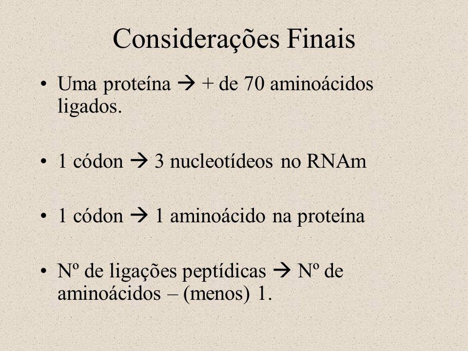 Considerações Finais Uma proteína + de 70 aminoácidos ligados. 1 códon 3 nucleotídeos no RNAm 1 códon 1 aminoácido na proteína Nº de ligações peptídic