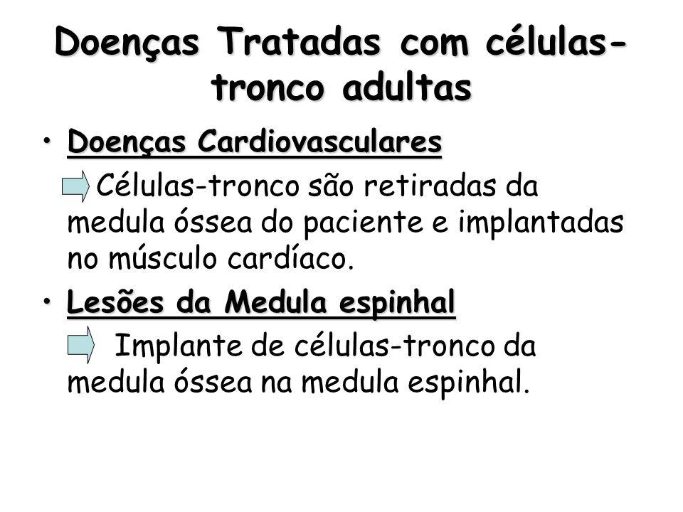 Doenças Tratadas com células- tronco adultas Doenças CardiovascularesDoenças Cardiovasculares Células-tronco são retiradas da medula óssea do paciente