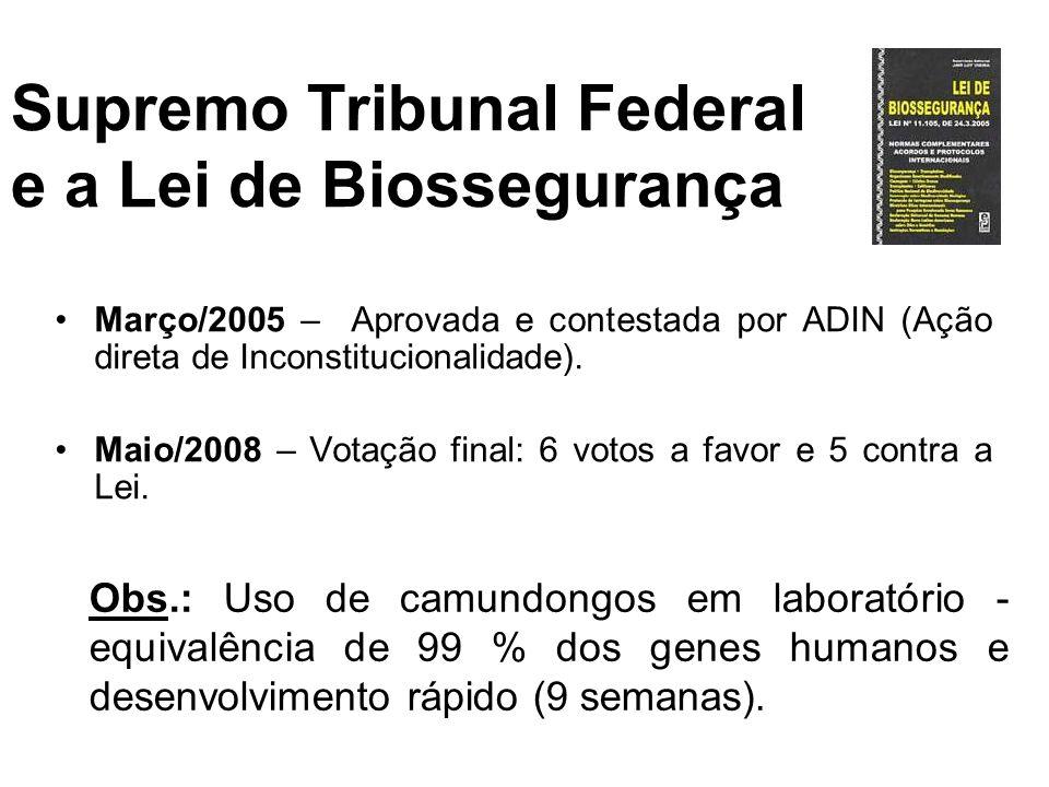 Supremo Tribunal Federal e a Lei de Biossegurança Março/2005 – Aprovada e contestada por ADIN (Ação direta de Inconstitucionalidade). Maio/2008 – Vota
