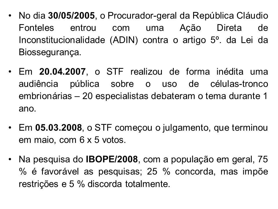 No dia 30/05/2005, o Procurador-geral da República Cláudio Fonteles entrou com uma Ação Direta de Inconstitucionalidade (ADIN) contra o artigo 5º. da