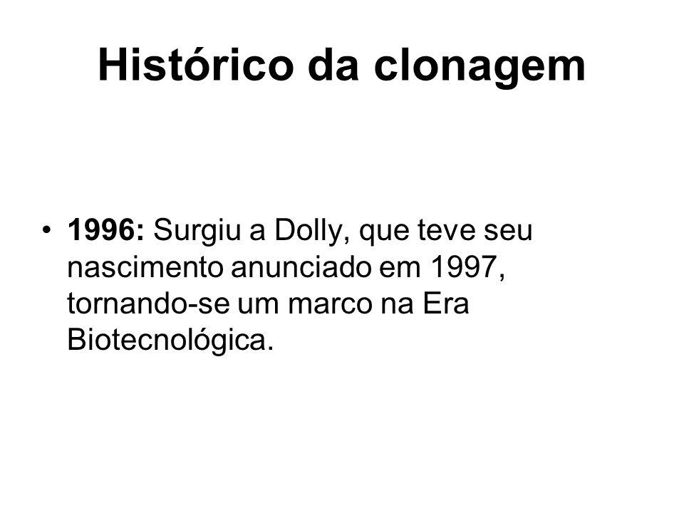 Histórico da clonagem 1996: Surgiu a Dolly, que teve seu nascimento anunciado em 1997, tornando-se um marco na Era Biotecnológica.