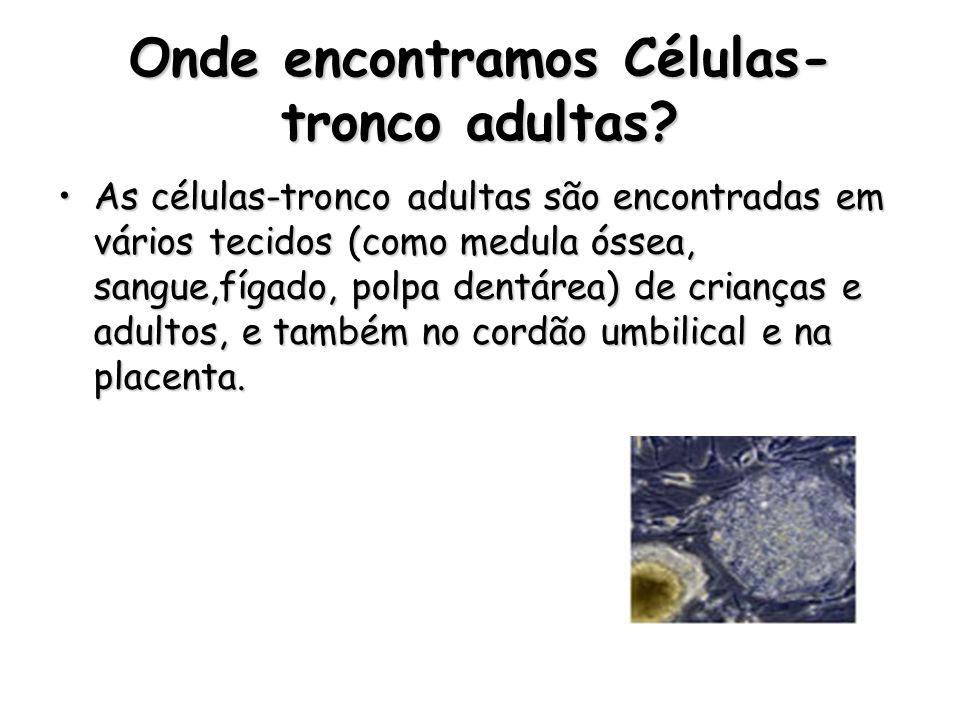 TIPOS DE CÉLULAS-TRONCO ADULTAS Cordão umbilical Tecido adiposo Polpa dentária Sangue Menstrual Liquído amniótico Problema: não são capazes de se diferenciar em todos os tipos de células humanas Solução: utilizar células-tronco embrionárias http://www.objetivo.br/portal/img/roteiro_celulas_tronco3.jpg