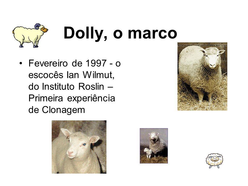 Dolly, o marco Fevereiro de 1997 - o escocês Ian Wilmut, do Instituto Roslin – Primeira experiência de Clonagem