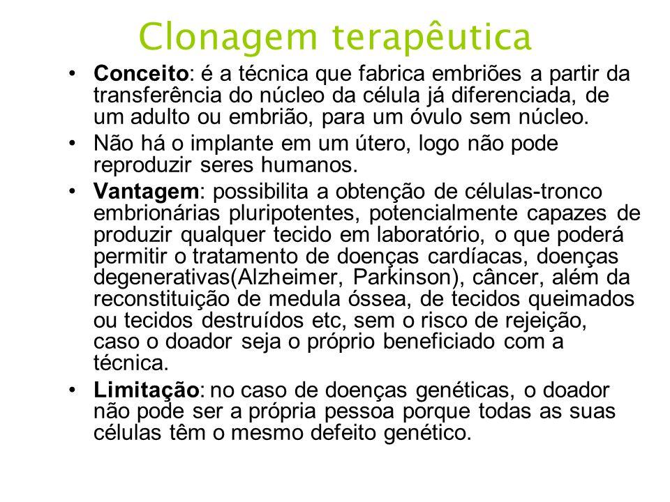 Clonagem terapêutica Conceito: é a técnica que fabrica embriões a partir da transferência do núcleo da célula já diferenciada, de um adulto ou embrião