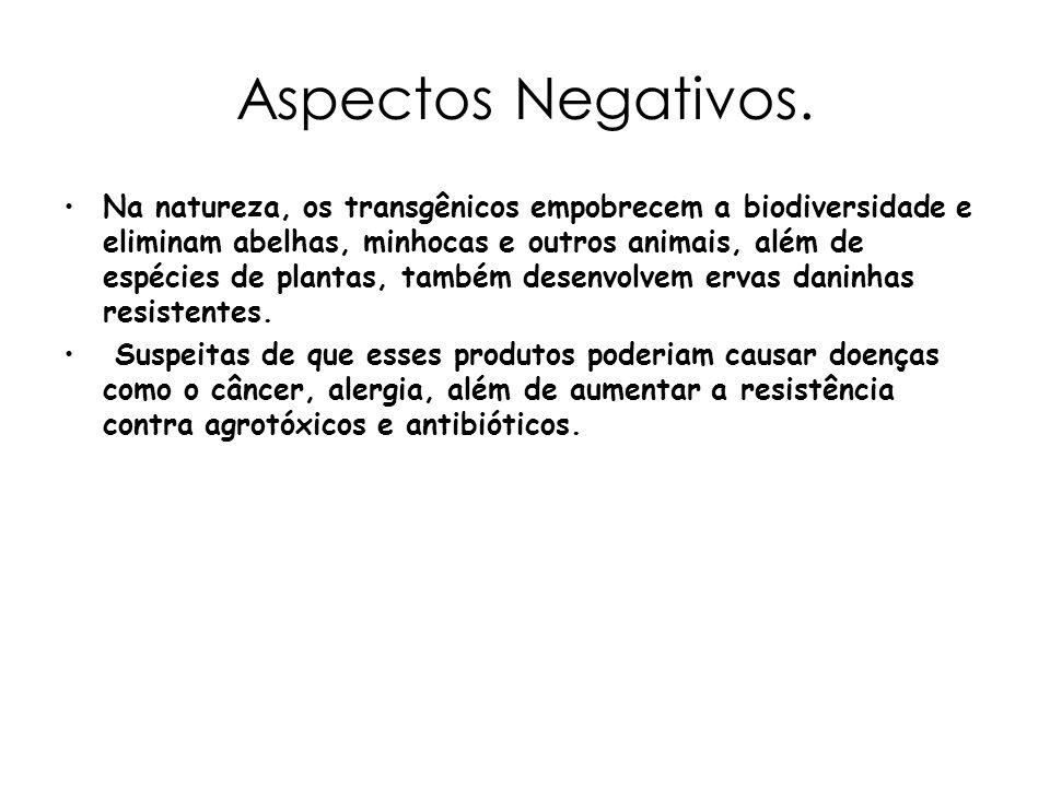 Aspectos Negativos. Na natureza, os transgênicos empobrecem a biodiversidade e eliminam abelhas, minhocas e outros animais, além de espécies de planta