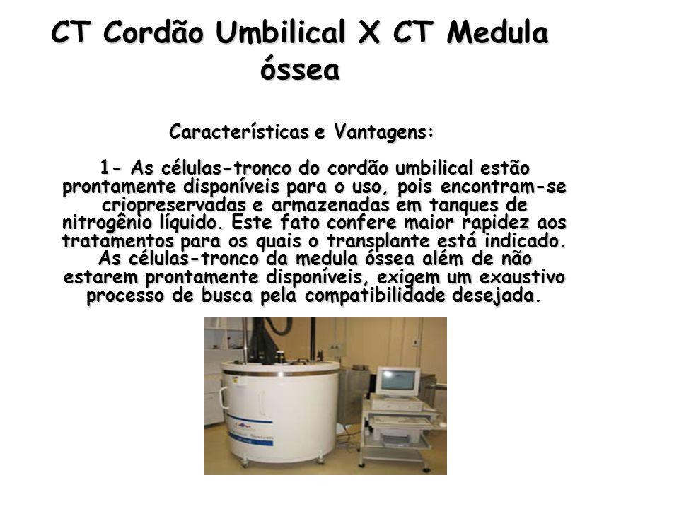 CT Cordão Umbilical X CT Medula óssea Características e Vantagens: 1- As células-tronco do cordão umbilical estão prontamente disponíveis para o uso,