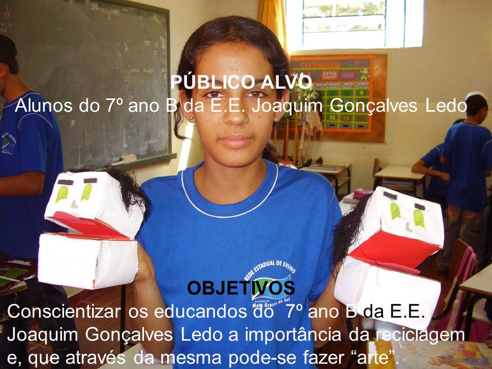 PÚBLICO ALVO Alunos do 7º ano B da E.E. Joaquim Gonçalves Ledo OBJETIVOS Conscientizar os educandos do 7º ano B da E.E. Joaquim Gonçalves Ledo a impor