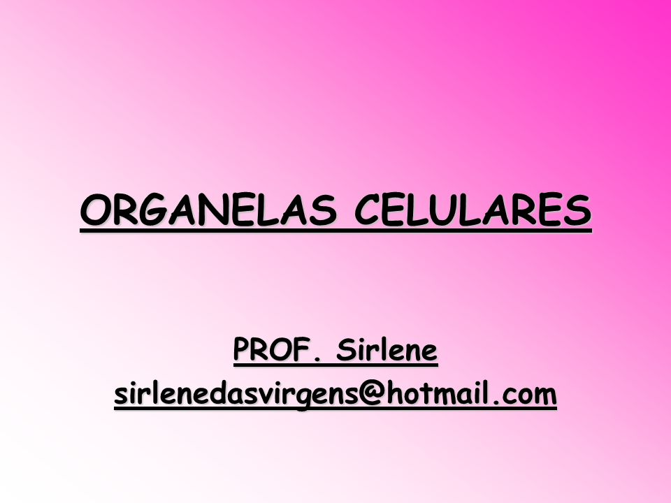 ORGANELAS CELULARES PROF. Sirlene sirlenedasvirgens@hotmail.com