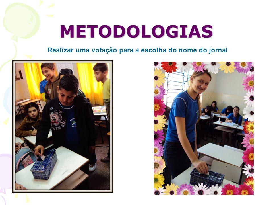 METODOLOGIAS Realizar uma votação para a escolha do nome do jornal