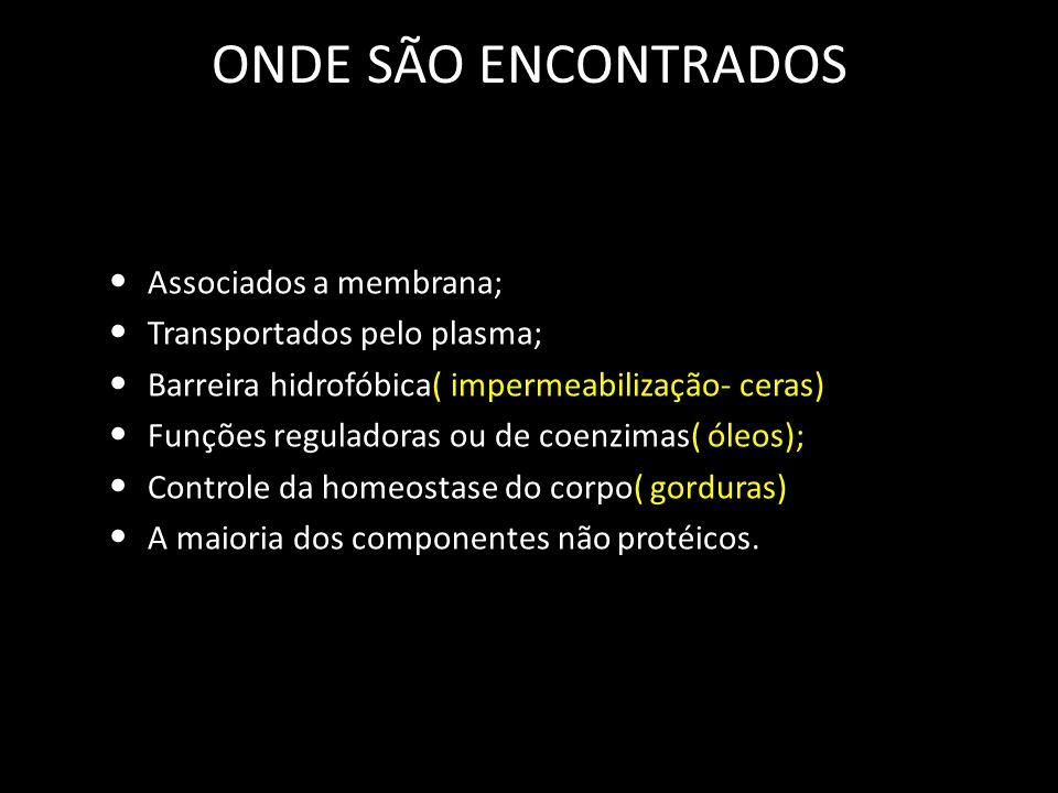 ONDE SÃO ENCONTRADOS Associados a membrana; Transportados pelo plasma; Barreira hidrofóbica( impermeabilização- ceras) Funções reguladoras ou de coenz