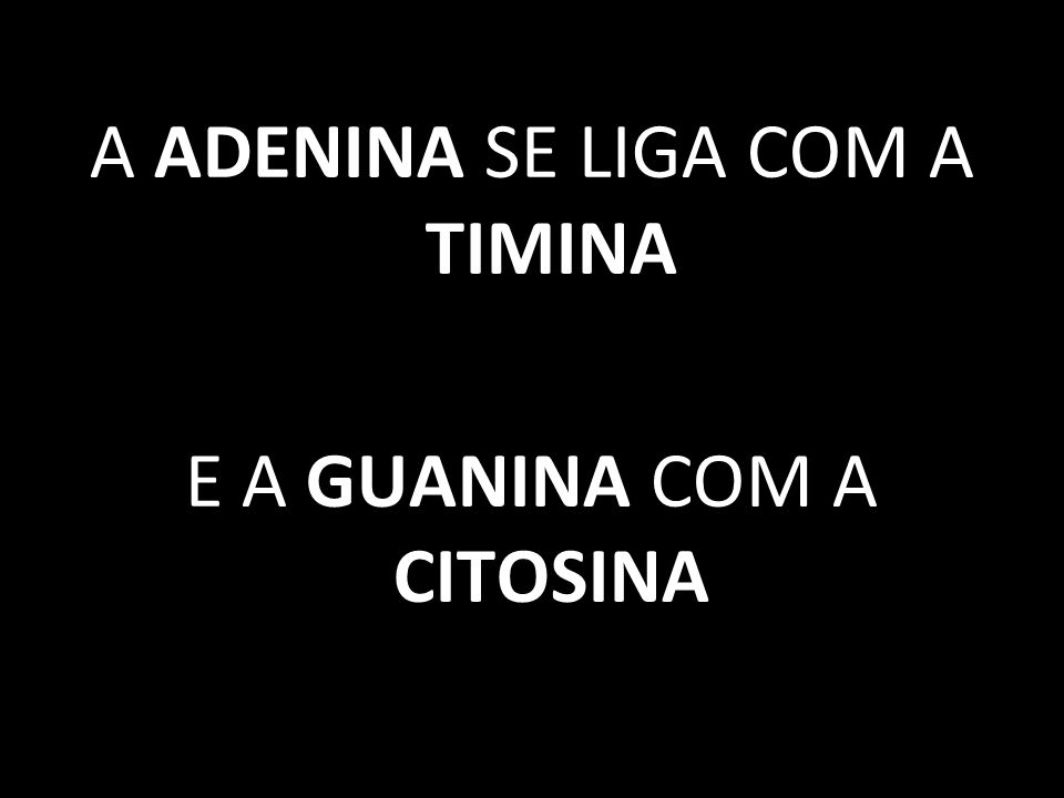 A ADENINA SE LIGA COM A TIMINA E A GUANINA COM A CITOSINA