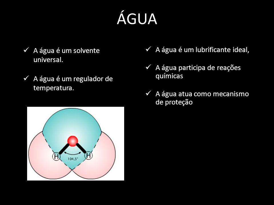 ÁGUA A água é um solvente universal. A água é um regulador de temperatura. A água é um lubrificante ideal, A água participa de reações químicas A água