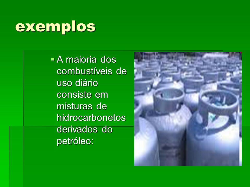 exemplos A maioria dos combustíveis de uso diário consiste em misturas de hidrocarbonetos derivados do petróleo: A maioria dos combustíveis de uso diá