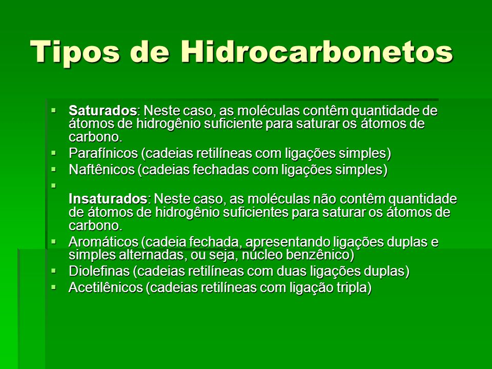 Tipos de Hidrocarbonetos Saturados: Neste caso, as moléculas contêm quantidade de átomos de hidrogênio suficiente para saturar os átomos de carbono. S