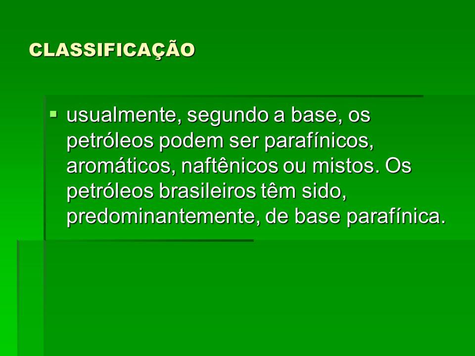 CLASSIFICAÇÃO usualmente, segundo a base, os petróleos podem ser parafínicos, aromáticos, naftênicos ou mistos. Os petróleos brasileiros têm sido, pre