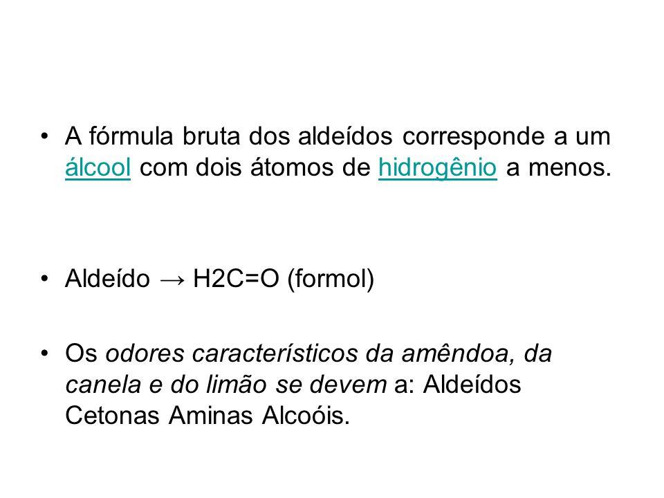 A fórmula bruta dos aldeídos corresponde a um álcool com dois átomos de hidrogênio a menos. álcoolhidrogênio Aldeído H2C=O (formol) Os odores caracter