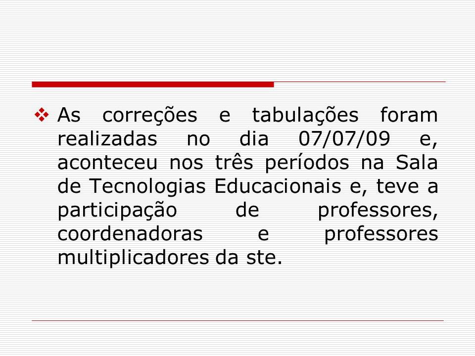 As correções e tabulações foram realizadas no dia 07/07/09 e, aconteceu nos três períodos na Sala de Tecnologias Educacionais e, teve a participação d