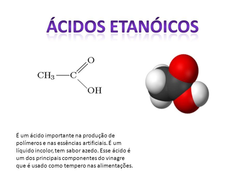 É um ácido importante na produção de polímeros e nas essências artificiais. É um líquido incolor, tem sabor azedo. Esse ácido é um dos principais comp
