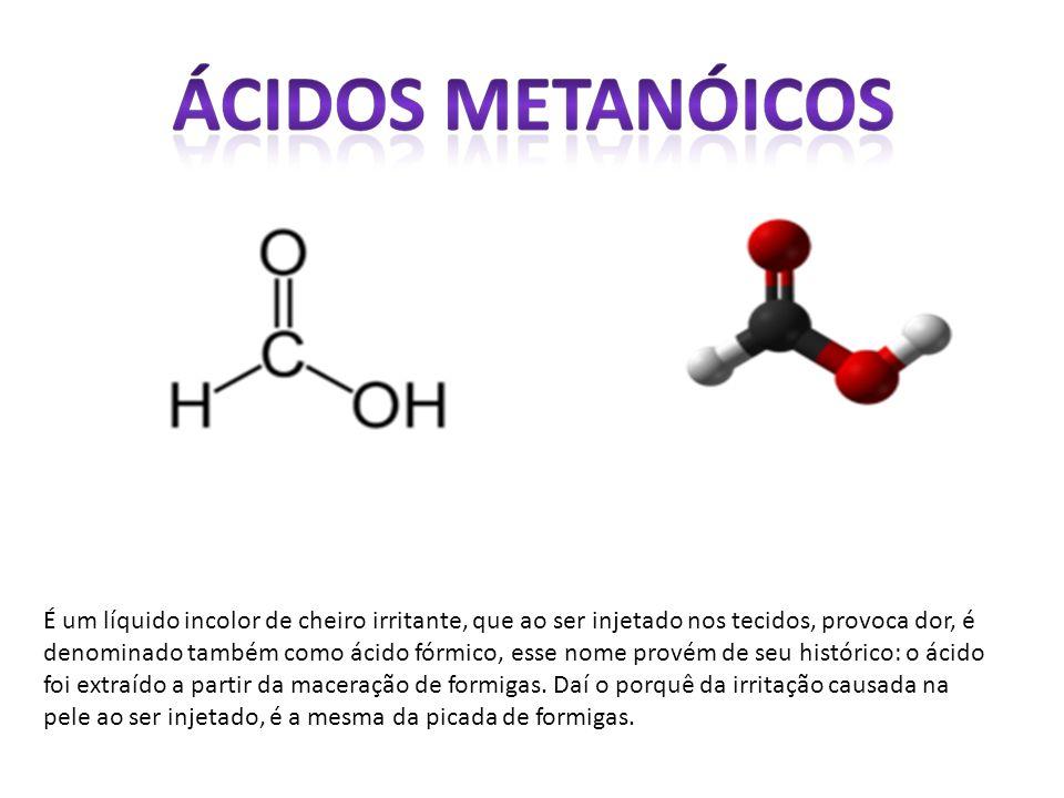 É um líquido incolor de cheiro irritante, que ao ser injetado nos tecidos, provoca dor, é denominado também como ácido fórmico, esse nome provém de se