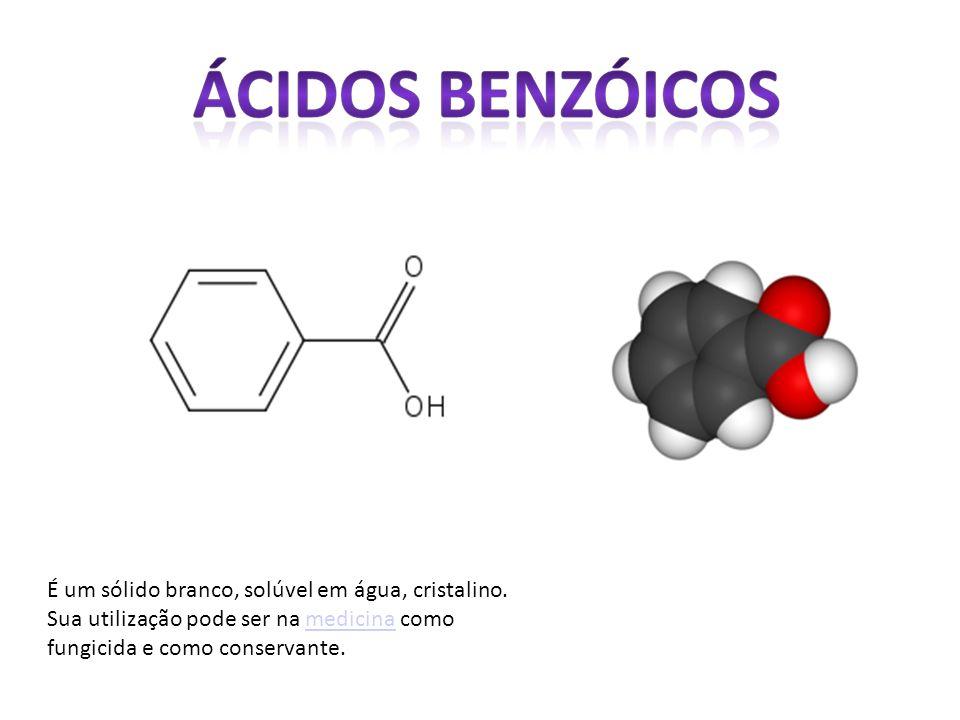 É um sólido branco, solúvel em água, cristalino. Sua utilização pode ser na medicina como fungicida e como conservante.medicina