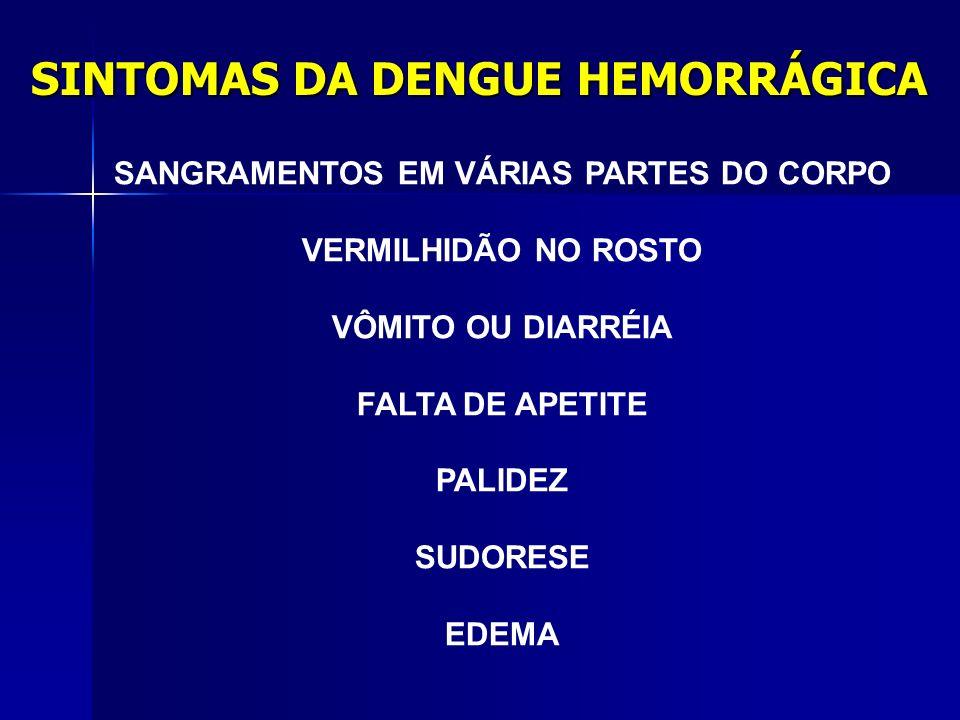 DENGUE HEMORRÁGICA Se a pessoa tem dengue pela segunda vez (outro tipo de vírus), pode contrair a hemorrágica. Há quatro sorotipos diferentes de dengu