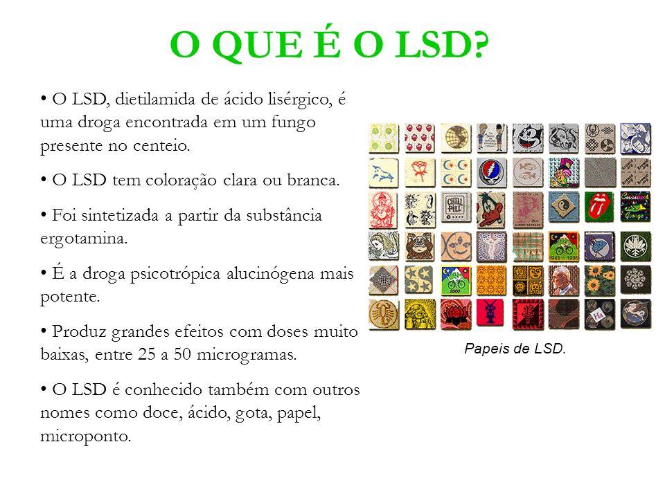 O QUE É O LSD? O LSD, dietilamida de ácido lisérgico, é uma droga encontrada em um fungo presente no centeio. O LSD tem coloração clara ou branca. Foi