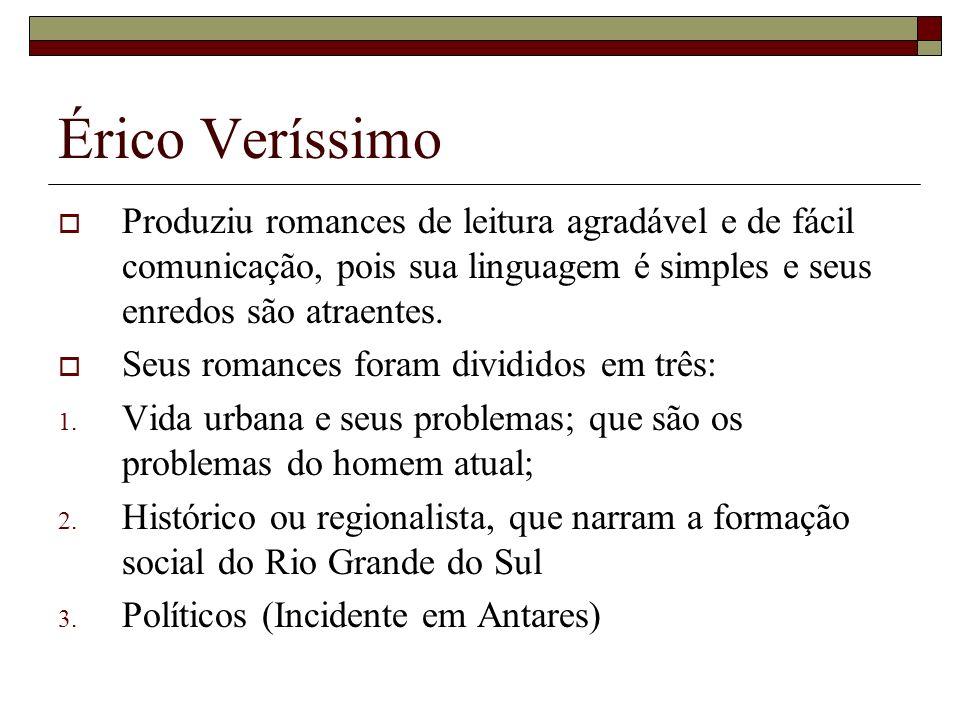 Érico Veríssimo Produziu romances de leitura agradável e de fácil comunicação, pois sua linguagem é simples e seus enredos são atraentes. Seus romance