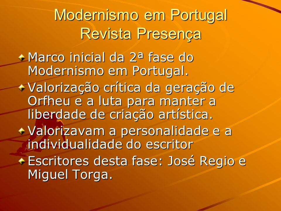 Modernismo em Portugal Revista Presença Marco inicial da 2ª fase do Modernismo em Portugal. Valorização crítica da geração de Orfheu e a luta para man