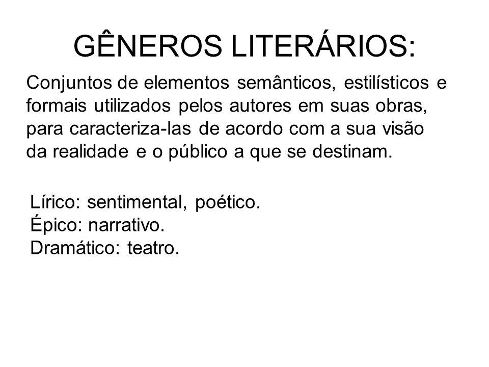 GÊNEROS LITERÁRIOS: Conjuntos de elementos semânticos, estilísticos e formais utilizados pelos autores em suas obras, para caracteriza-las de acordo c