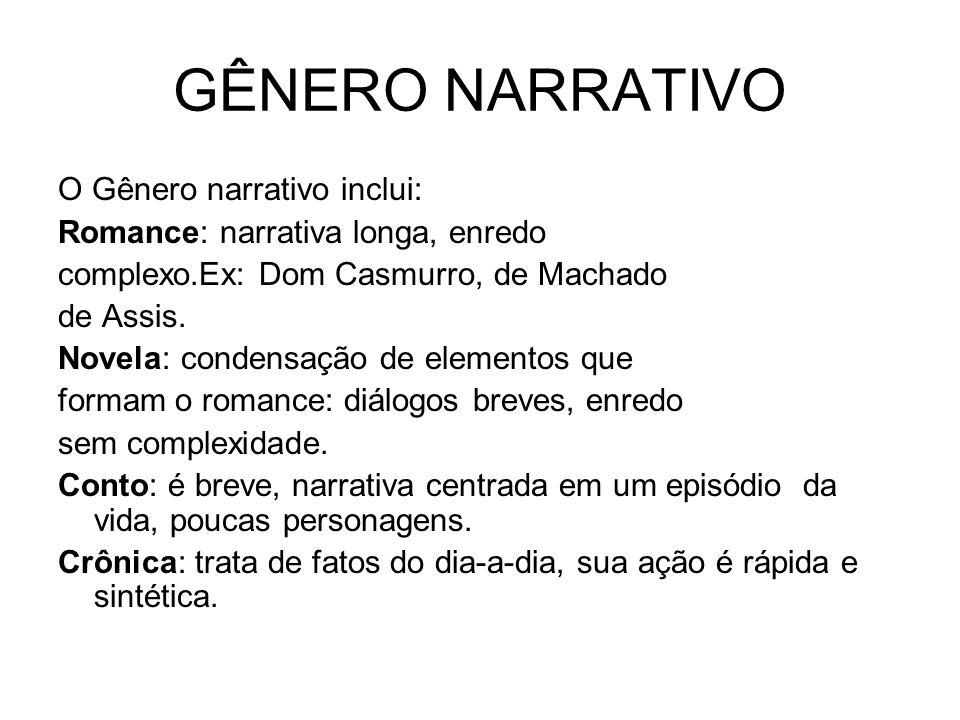 GÊNERO NARRATIVO O Gênero narrativo inclui: Romance: narrativa longa, enredo complexo.Ex: Dom Casmurro, de Machado de Assis. Novela: condensação de el