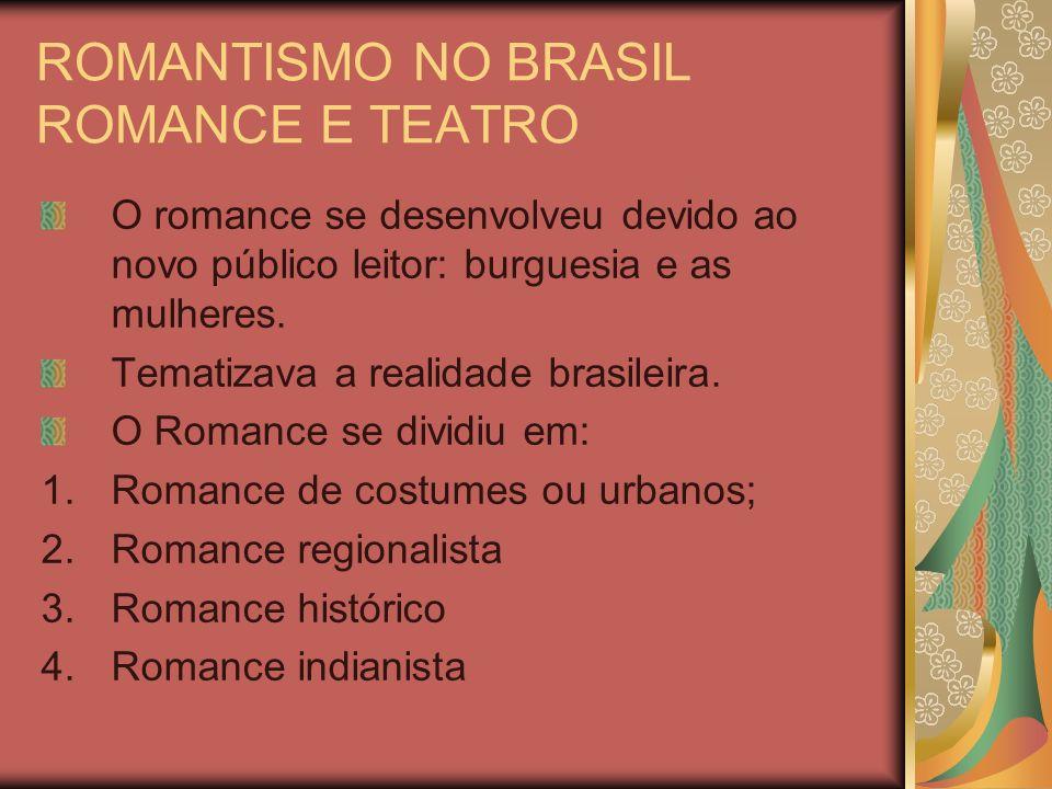 ROMANTISMO NO BRASIL ROMANCE E TEATRO O romance se desenvolveu devido ao novo público leitor: burguesia e as mulheres. Tematizava a realidade brasilei
