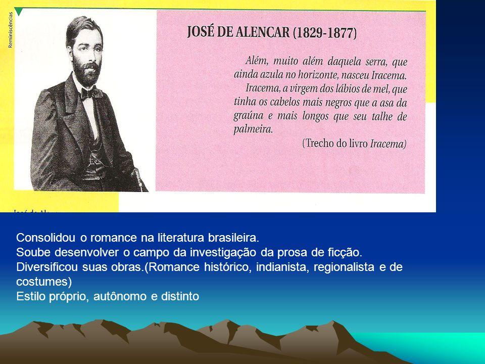 Consolidou o romance na literatura brasileira. Soube desenvolver o campo da investigação da prosa de ficção. Diversificou suas obras.(Romance históric