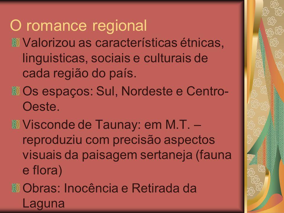 O romance regional Valorizou as características étnicas, linguisticas, sociais e culturais de cada região do país. Os espaços: Sul, Nordeste e Centro-