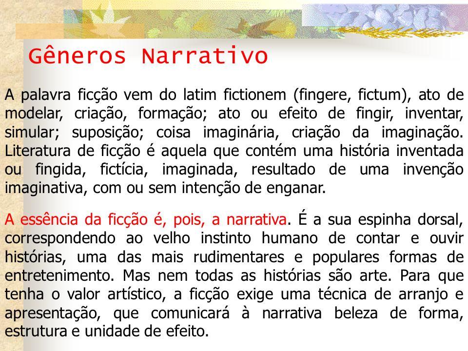 Gêneros Narrativo A palavra ficção vem do latim fictionem (fingere, fictum), ato de modelar, criação, formação; ato ou efeito de fingir, inventar, sim