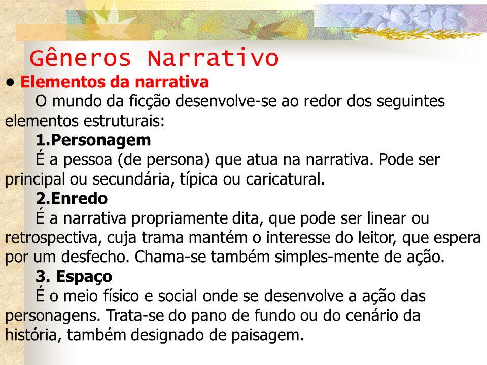 Gêneros Narrativo Elementos da narrativa O mundo da ficção desenvolve-se ao redor dos seguintes elementos estruturais: 1.Personagem É a pessoa (de per