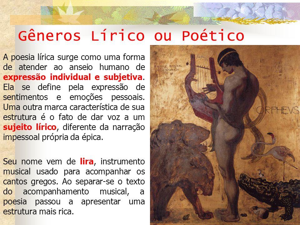 Gêneros Lírico ou Poético A poesia lírica surge como uma forma de atender ao anseio humano de expressão individual e subjetiva. Ela se define pela exp