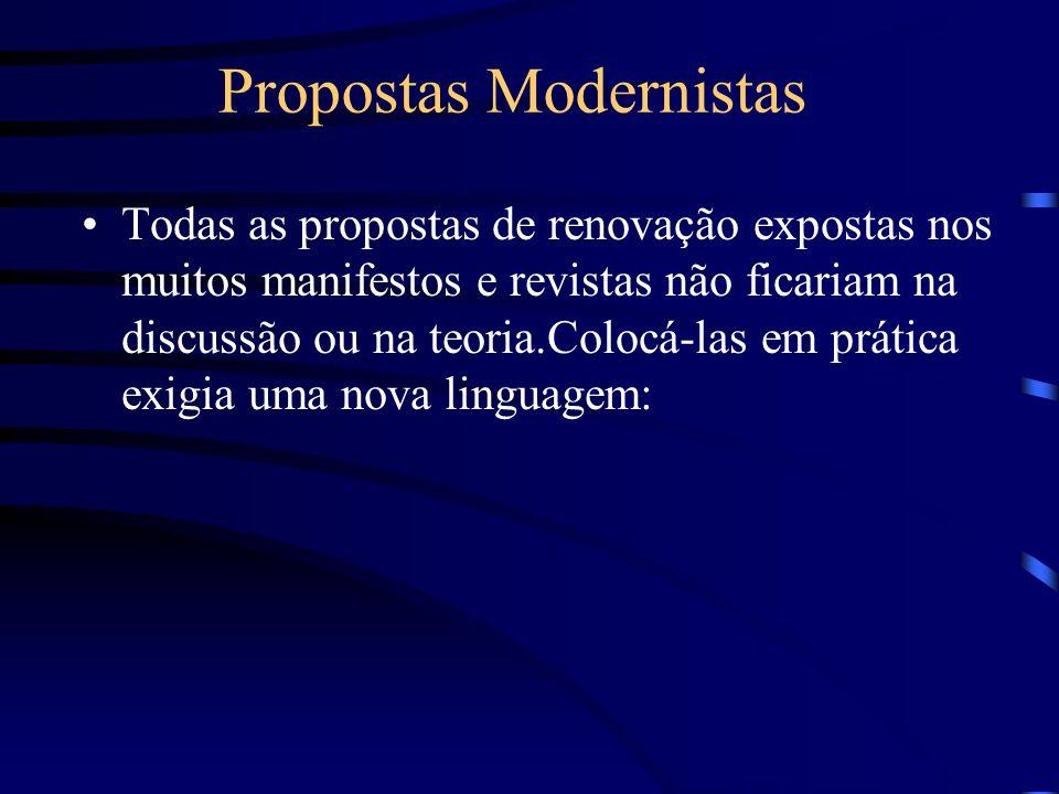 Propostas Modernistas Todas as propostas de renovação expostas nos muitos manifestos e revistas não ficariam na discussão ou na teoria.Colocá-las em p