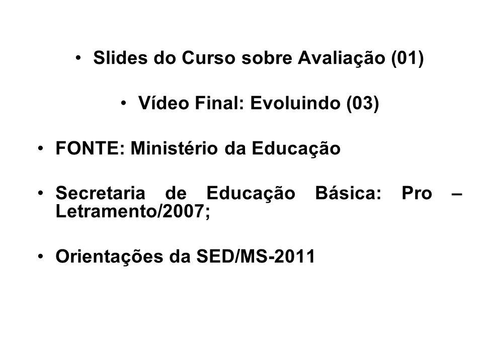 Slides do Curso sobre Avaliação (01) Vídeo Final: Evoluindo (03) FONTE: Ministério da Educação Secretaria de Educação Básica: Pro – Letramento/2007; O