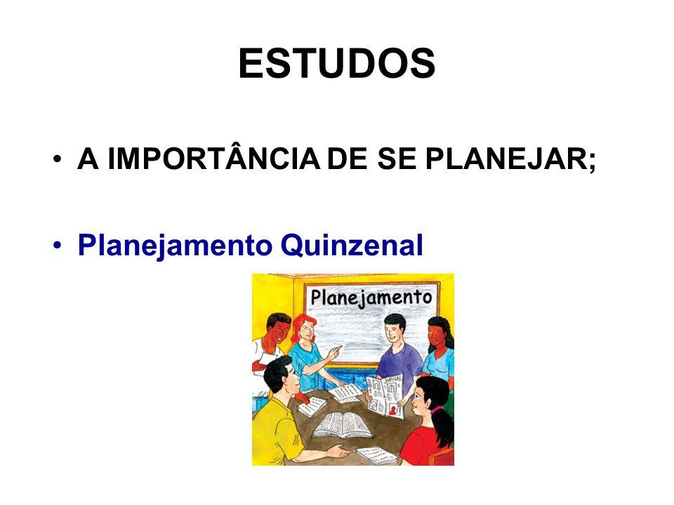 ESTUDOS A IMPORTÂNCIA DE SE PLANEJAR; Planejamento Quinzenal