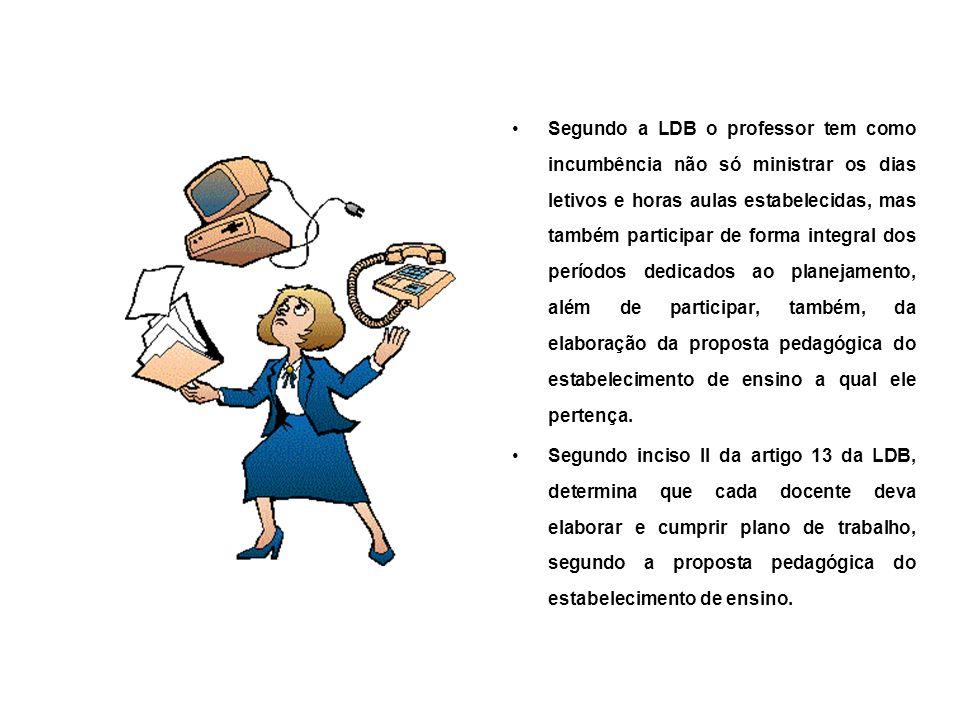 Segundo a LDB o professor tem como incumbência não só ministrar os dias letivos e horas aulas estabelecidas, mas também participar de forma integral d