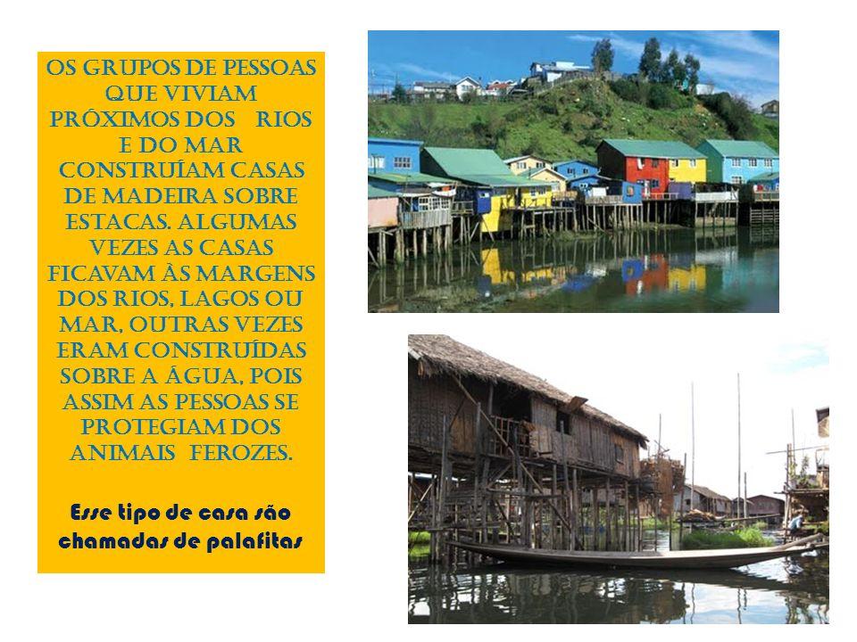 Os grupos de pessoas que viviam próximos dos rios e do mar construíam casas de madeira sobre estacas. Algumas vezes as casas ficavam às margens dos ri